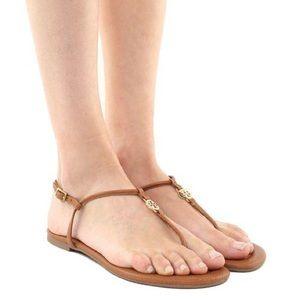 Tory Burch Emmy Flat Sandals Gold Logo Medallion 7